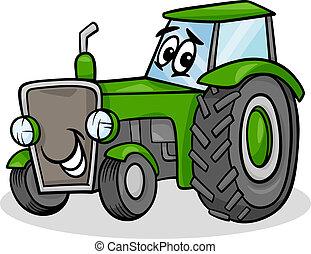 tractor, carácter, caricatura, ilustración