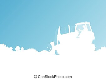 Tractor cleaning, unloading snow vector background concept