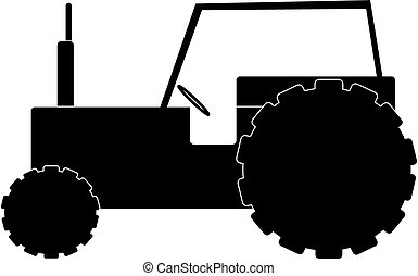 Tractor - silhouette image of a tractor