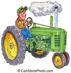 tractor - A farmer sitting on an old tractor