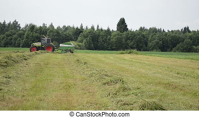 tractor collect hay field - tractor bailer collect hay in...