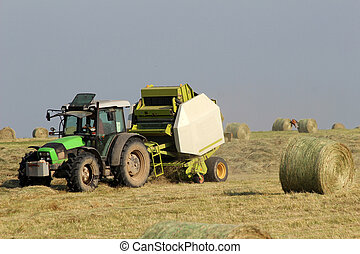 Tractor collecting haystack - Green tractor collecting ...