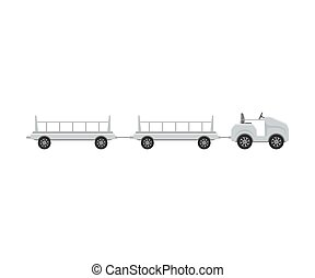 Tractor convertible with trolleys. Vector illustration on a ...