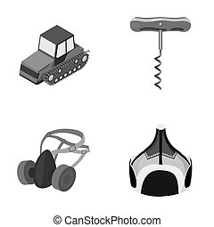 Tractor, corkscrew and other monochrome icon in cartoon style. protective mask, Mongolian helmet icons in set collection.