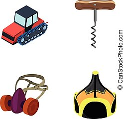 Tractor, corkscrew and other web icon in cartoon style. protective mask, Mongolian helmet icons in set collection.