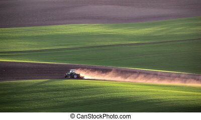 tractor cultivates the field in the spring - Sunset light...