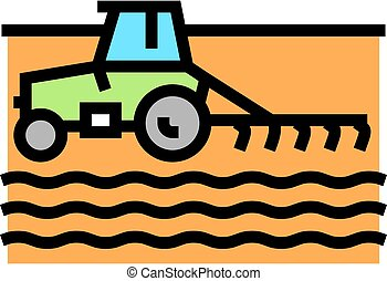 tractor cultivating field color icon vector illustration