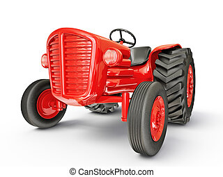 tractor - vintage tractor isolated on a white  background