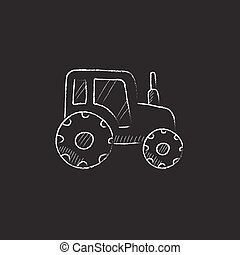 Tractor. Drawn in chalk icon.