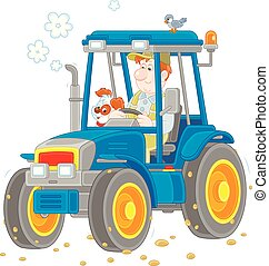 Tractor driver with a small dog