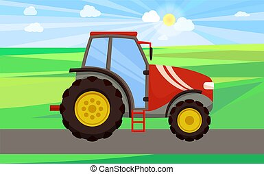 Tractor Driving on Green Field Vector Illustration - Tractor...