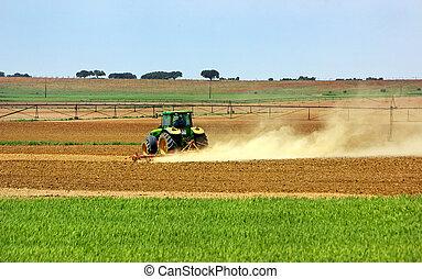 tractor, en, portugués, field.