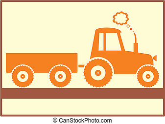 Tractor - brown tractor with trailer on yellow background...