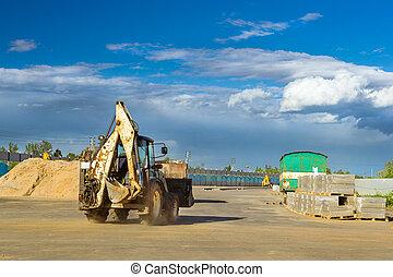 Tractor excavation work, construction speed road