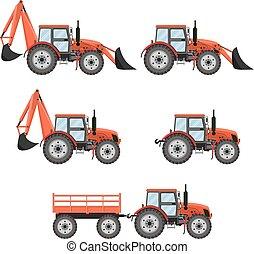 Tractor, excavator, bulldozer set.