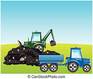 Tractor excavator loads ground - Tractor with scoop digs and...