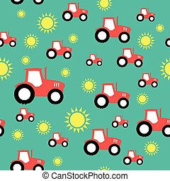tractor farming agriculture seamless pattern vector