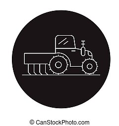 Tractor fertilizer black vector concept icon. Tractor fertilizer flat illustration, sign