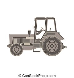 Tractor flat icon. Vector illustration of a farmer vehicle in design style isolated on white background. Heavy agricultural machinery for field work