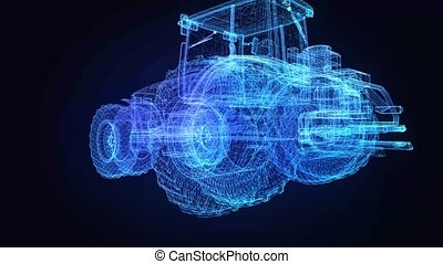 Tractor. Glow points and lines formation of 3d Model tractor...