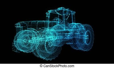 Tractor. Glow points formation of 3d Model tractor. Rotating...