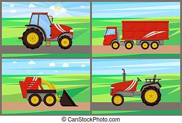 Tractor Grain Truck on Field Vector Illustration