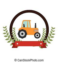 tractor, granja, sello, icono