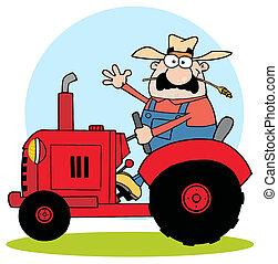 tractor, granjero, rojo