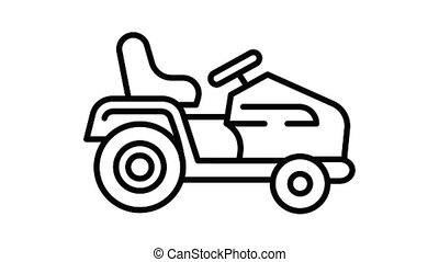 Tractor grass cutter icon animation best on white background for any design