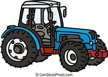 Hand drawing of a blue tractor - not a real model