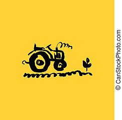 tractor hand drawn icon. simple vector illustration.