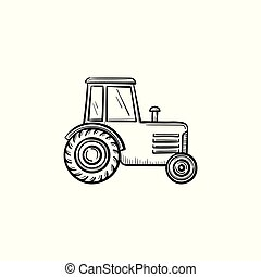Tractor hand drawn sketch icon.