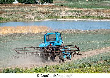 tractor, harrow, viejo