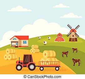 Tractor harvesting farm life concept. Vector flat graphic design illustration