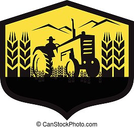 Tractor Harvesting Wheat Farm Crest Retro - Illustration of...