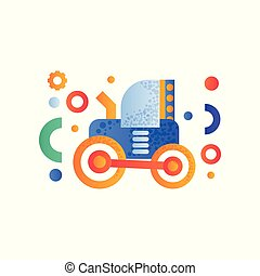 Tractor, heavy agricultural industrial machinery vector Illustration on a white background