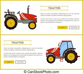 Tractor Husbandry Machine Vector Illustration - Tractor...