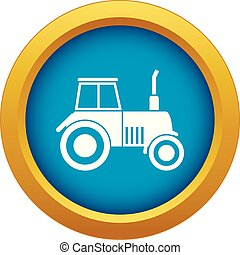 Tractor icon blue vector isolated