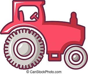 Tractor icon, cartoon style