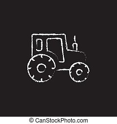 Tractor icon drawn in chalk.