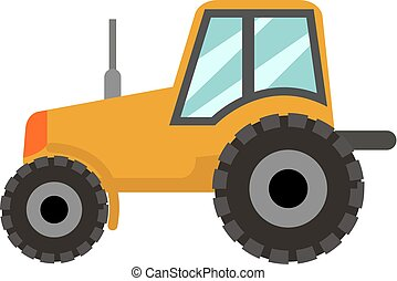 Tractor icon flat style. Isolated on white background. Vector illustration