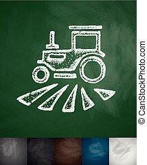 tractor icon. Hand drawn vector illustration. Chalkboard ...