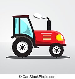 Tractor Icon Isolated. Vector Flat Design Agriculture Machine.
