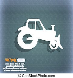 Tractor icon. On the blue-green abstract background with shadow and space for your text. Vector