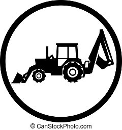 Tractor icon on white background in black circle