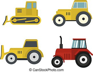 Tractor icon set, flat style
