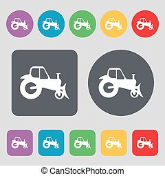 Tractor icon sign. A set of 12 colored buttons. Flat design. Vector