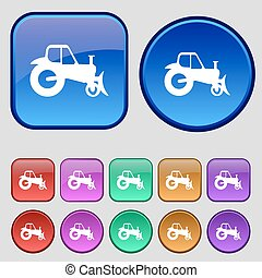 Tractor icon sign. A set of twelve vintage buttons for your design. Vector