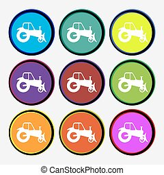 Tractor icon sign. Nine multi colored round buttons. Vector