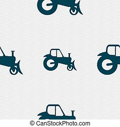 Tractor icon sign. Seamless pattern with geometric texture. Vector